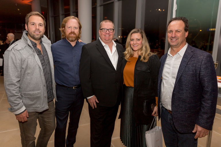Allen E. Gant, III and Greg Voorhis of Sunbrella, Greg Kammerer of Interior Design, and Stephanie Cizinsky and Allen Hawks of Sunbrella. Photography by Erik Bardin.